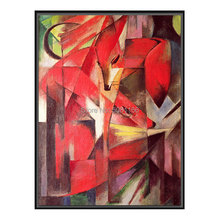 hand painted abstract red animal oil painting franz marc fox canvas art famous Geometric modern wall decor picture
