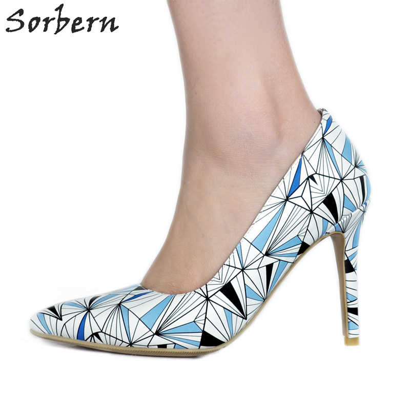 Sorbern Colorful Women Pumps Large Size Shoes Women Designer Shoes Women Luxury 2018 Plus Size Pointed Toe PU Pump Womens Heel цена