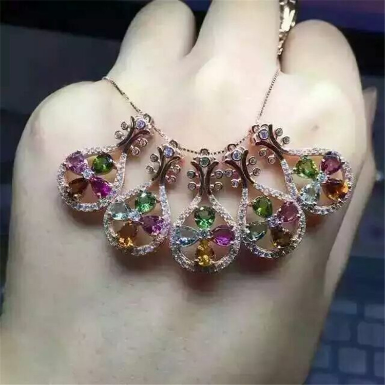 KJJEAXCMY boutique jewels S925 silver natural tourmaline lute pendant set ornaments wholesale gift box necklace.