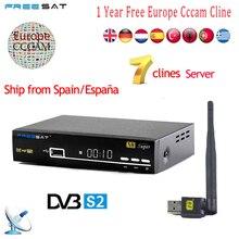 1 Jahr Europa 7 Clines Cccam Server Spanien Italien Arabisch Freesat V8 Super DVB-S2 Satellitenempfänger Volles HD 1080 P USB WIFI Antenne