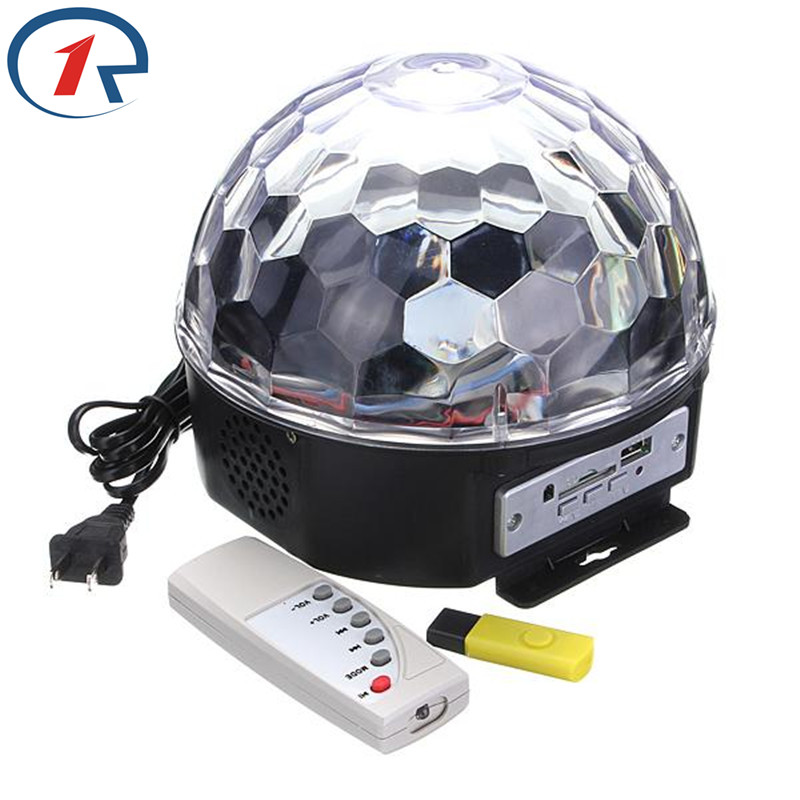 ZjRight IR Control Music Crystal Magic Ball colorful LED Stage Light disco dj bar Christmas Halloween Holiday party effect light