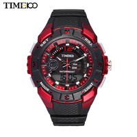 TIME100 Men Multifunction Dual Time Sport Watch Black Rubber Strap Quartz Digital Military Watches relogio masculino esportivo