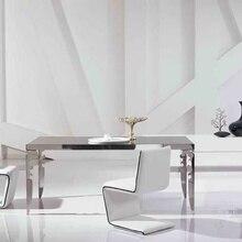 Современный набор столовой из нержавеющей стали со Стеклянным Столом, кожаные стулья(1+ 4 стула) Уникальный дизайнер