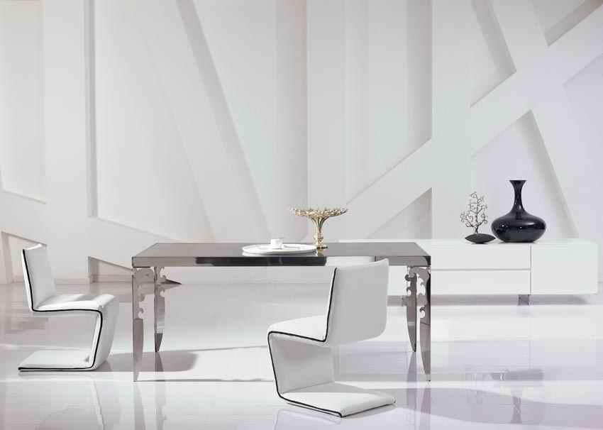 €957.61 5% de réduction|Nouvelle salle à manger moderne en acier inoxydable  avec table en verre, chaises en cuir (1 + 4 chaises) design unique-in ...