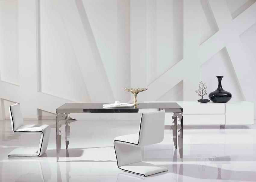 modern new stainless steel dining room set with glass table, leather chairs(1+4 chairs)  unique designer new pe rattan dining chairs with tempered glass