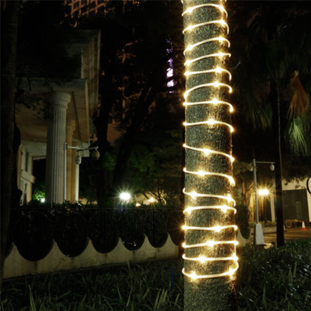 TSLEEN 100 LED Solar Power 33ft Rope Tube String Lights Outdoor Garden  Dance Party Decors Decorative