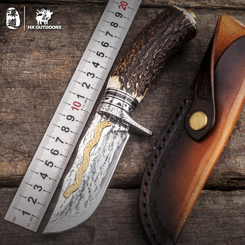 HX OUTDOORS Damasco alta calidad Acero inoxidable dureza oro cornamentas colección campo exterior supervivencia cuchillo cuchillo recto