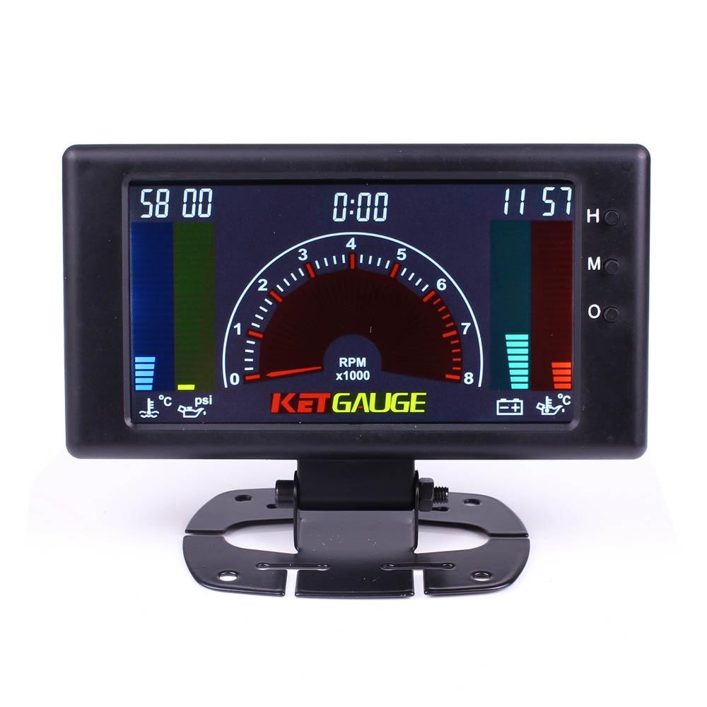 цена на 5 LCD 6 in 1 Multiple FUnction Auto Gauge Meter Tachometer, Volts, Clock, RPM, Water Temp, Oil Temp, Oil Press Car Gauge