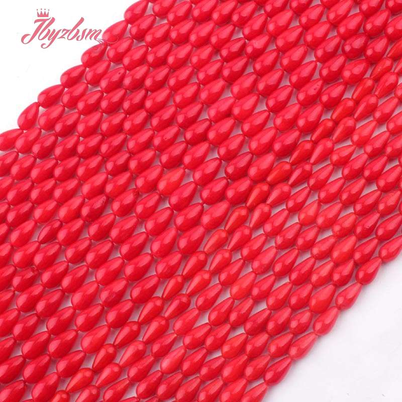 """5x8,4x6mm Natural Smooth Drop Red Coral Stone Beads Strand 15"""" For DIY Necklace Bracelets Fashion Jewelry Making,Free Shipping"""