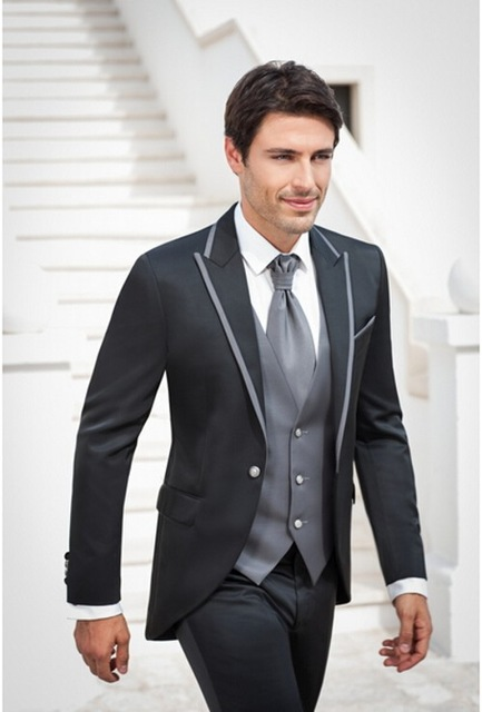 aa21635d5c3bd Moda męska garnitury 2017 popularne Groomsmen męska ślub smokingi Prom  garnitury biznes mężczyźni odzież biurowa (