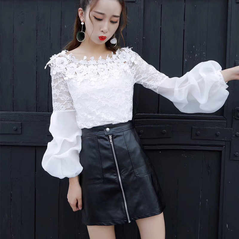 2018 Spring Summer Women Lace Blouse Sweet Floral Slash Neck Lace Shirt Female lantern Sleeve Bottoming Blouses Short Tops AB814