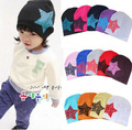 2016 New Hot sale Unisex Knitting Baby Hat Boys Girls Fashion Printed Star Cap Toddler Kids White Red Blue Soft Cotton Cap