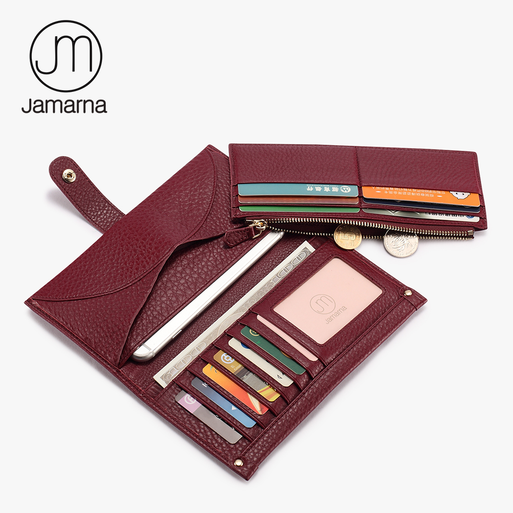 Jamarna Wallet Female Multifunctional Women Wallets Genuine Leather Phone Credit Card Holder Purse Clutch high quality first layer soft genuine leather men s credit card holder clutch wallet phone purse vintage design long wallets