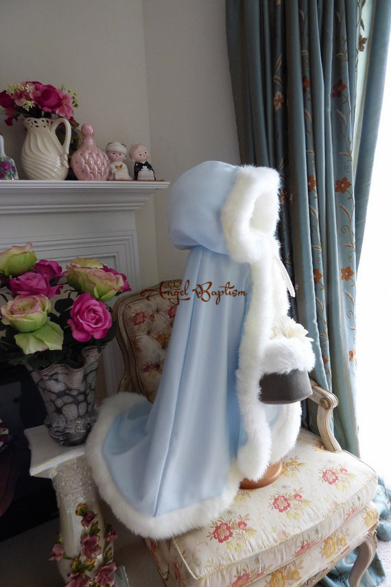 ФОТО Halloween sale Sky blue flower girl faux fur cloak cape kid stole jacket hooded wrap bolero with hand muff coat evening outwear