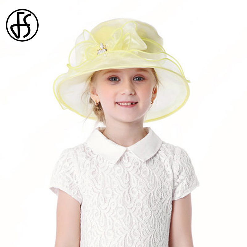 FS Organza Hat Girls Summer Lovely Sun Hats Wide Brim Cute Flower Children Yellow Beach Caps With Rhinestone New new arrival lovely newborn hospital hat cute girls baby hats with flower bowknot flower hat high quality