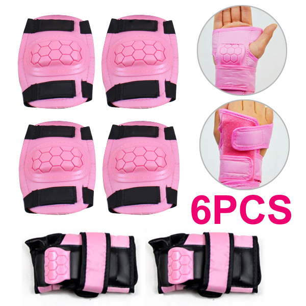 Pink 6 ~ 9 Yrs Boys Girls Kids Child Skate Cycle Knee Set Elbow Wrist Safety Pad