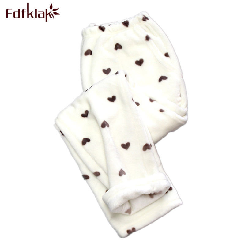 Fdfklak Winter Flannel Sleep Bottoms Pajamas Trousers Women's Pants For Women Thicker Warm Women's Trousers Pijama Pants Q539