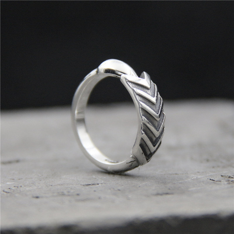 C&R 925 Sterling Silver Rings for Women retro arrow thai silver ring handmade Fine Jewelry size 6-8 adjustable