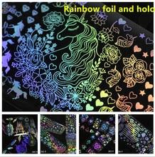 Rainbow Foil Nail Art Holo Design Tranfer Sticker Tip Decoration Manicure Charms 4*100cm 3d Nail Art Foils Holographic Wraps