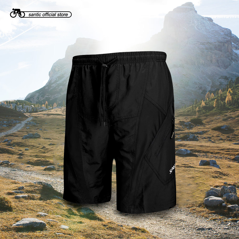 Santic Men`s Cycling Shorts 3D Padded Coolmax Loose Fit W/ Inner Underwear Leisure MTB Bicycle Bottoms Asian M-4XL K7MB032