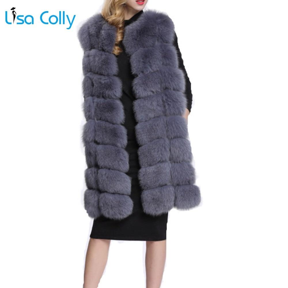 Лиза колли женский меховой жилет пальто длинный искусственный мех жилет женский зимний супер искусственный мех пальто куртка Верхняя одеж...