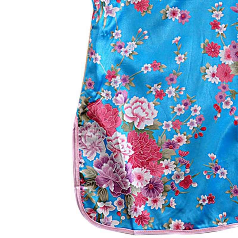 Đầm bé Gái Hình Con Công Đầm Ôm Truyền Thống Đầm Sườn Xám Trẻ Em Bé Gái Quần Áo Phong Cách Trung Hoa Qipao