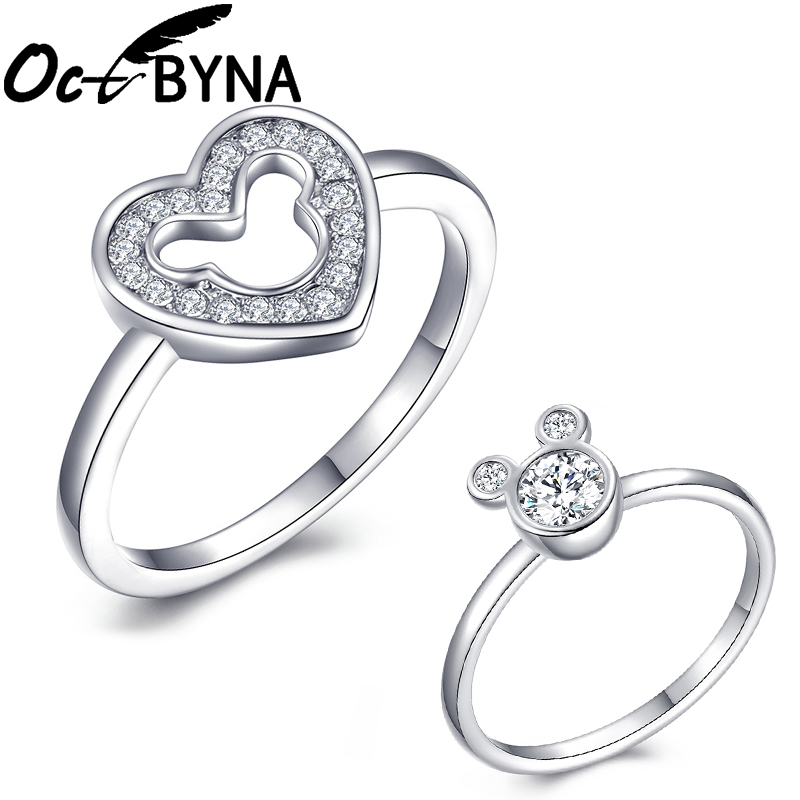 Octbyna Brand Ring Jewelry Inlay Cubic-Zirconia-Ring Wedding-Engagement Mickey Women
