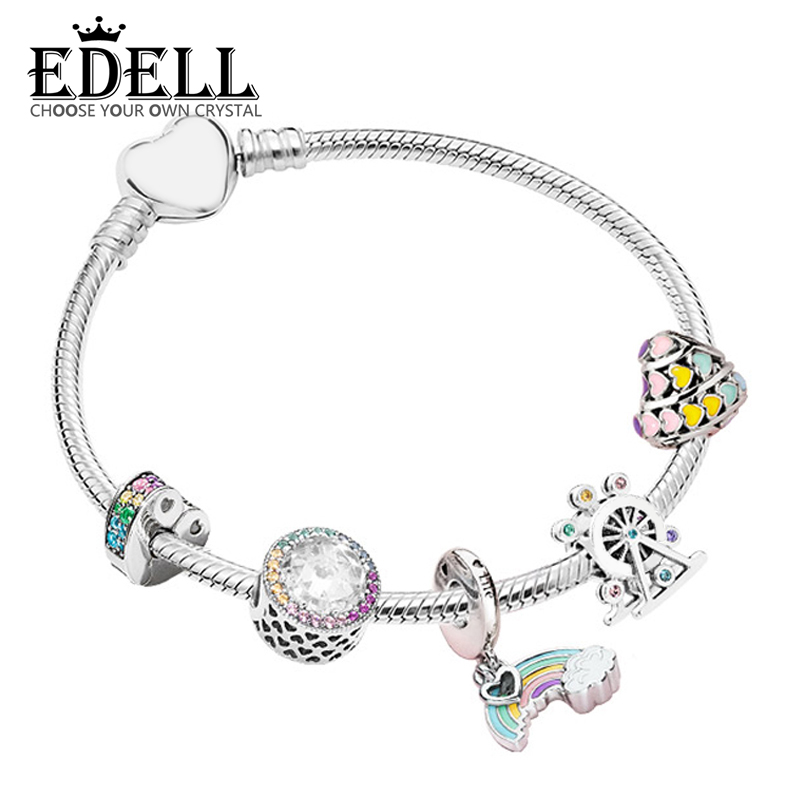EDELL 100% 925 Sterling Silver Magic Dream Neon ZT0142 Bracelet String Ornaments Gift Set Original Women Jewelry Charming Gift allure charming party magic set