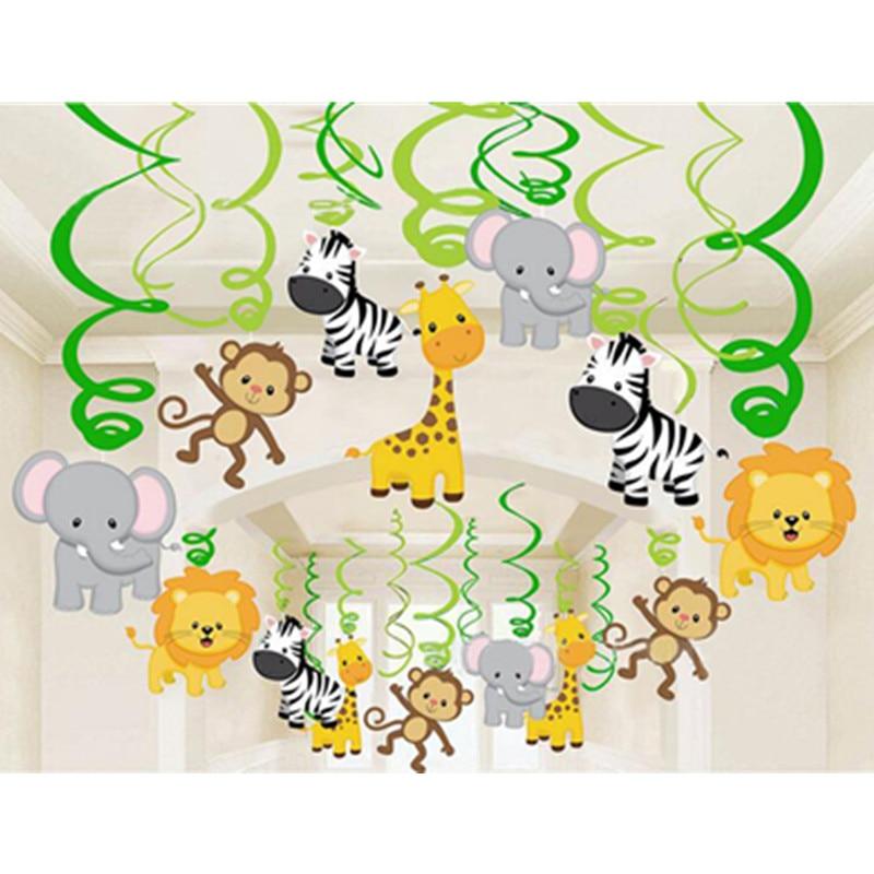 30pcs Birthday Party Decoration Kids Zoo Safari Jungle Animal Foil Spiral Swirls Banner Bunting Garland Streamer Baby Shower