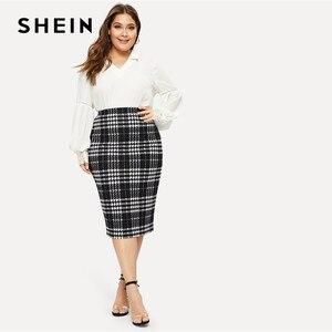 Image 3 - Shein preto sólido feminino plus size elegante lápis saia primavera outono escritório senhora workwear elástico bodycon na altura do joelho saias