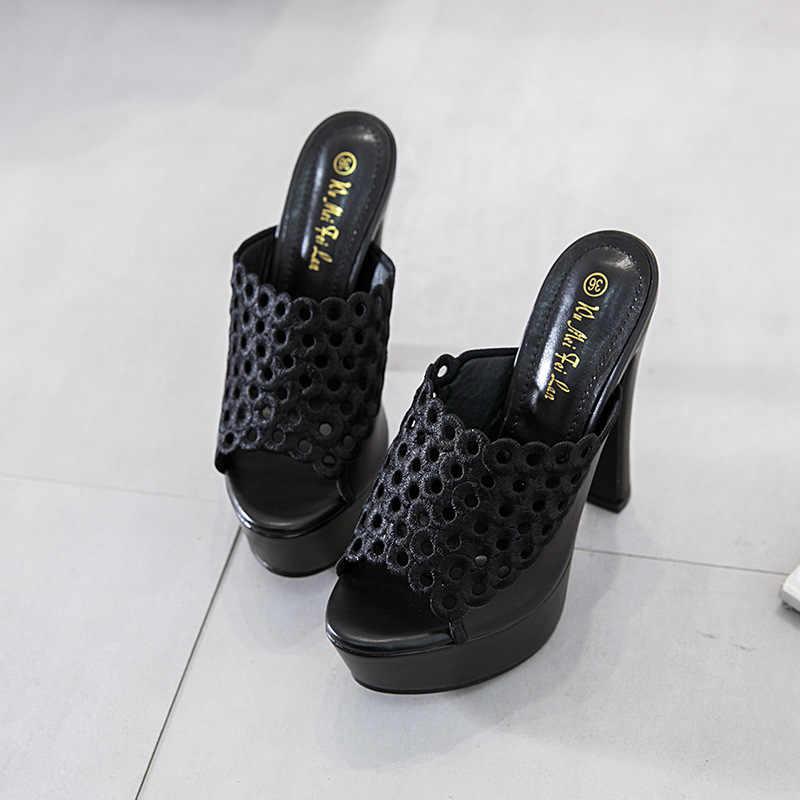 Holle Vrouwen Slippers Sexy Hoge Hak 15 CM Muilezels Zwart Peep Toe Platform Muilezels Dames Lederen Zool Slippers Vro Slip op Sandalen