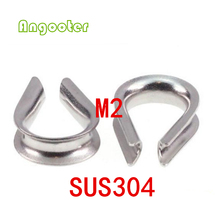 50pcs/lot M2 304 Stainless Steel Wire Rope Cable Triangle Thimble Clamps Wire Rope Cable