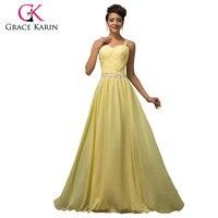 New Sleeveless Cheap Yellow Long Prom Dresses 2015 Floor Length Chiffon Padded Gown Grace Karin Vestido