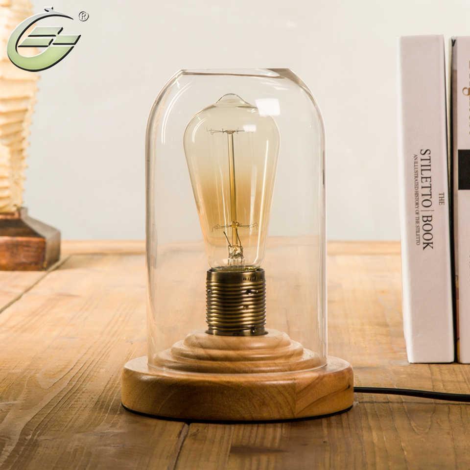 Yuenslighting loft vintage industrial glass wood desk lamp retro edison bulb wooden base led table lights