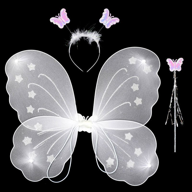 Ainclu Girl Kid 3Pcs/set Butterfly Wing Wand Headband Fairy Princess Xmas Party Costume