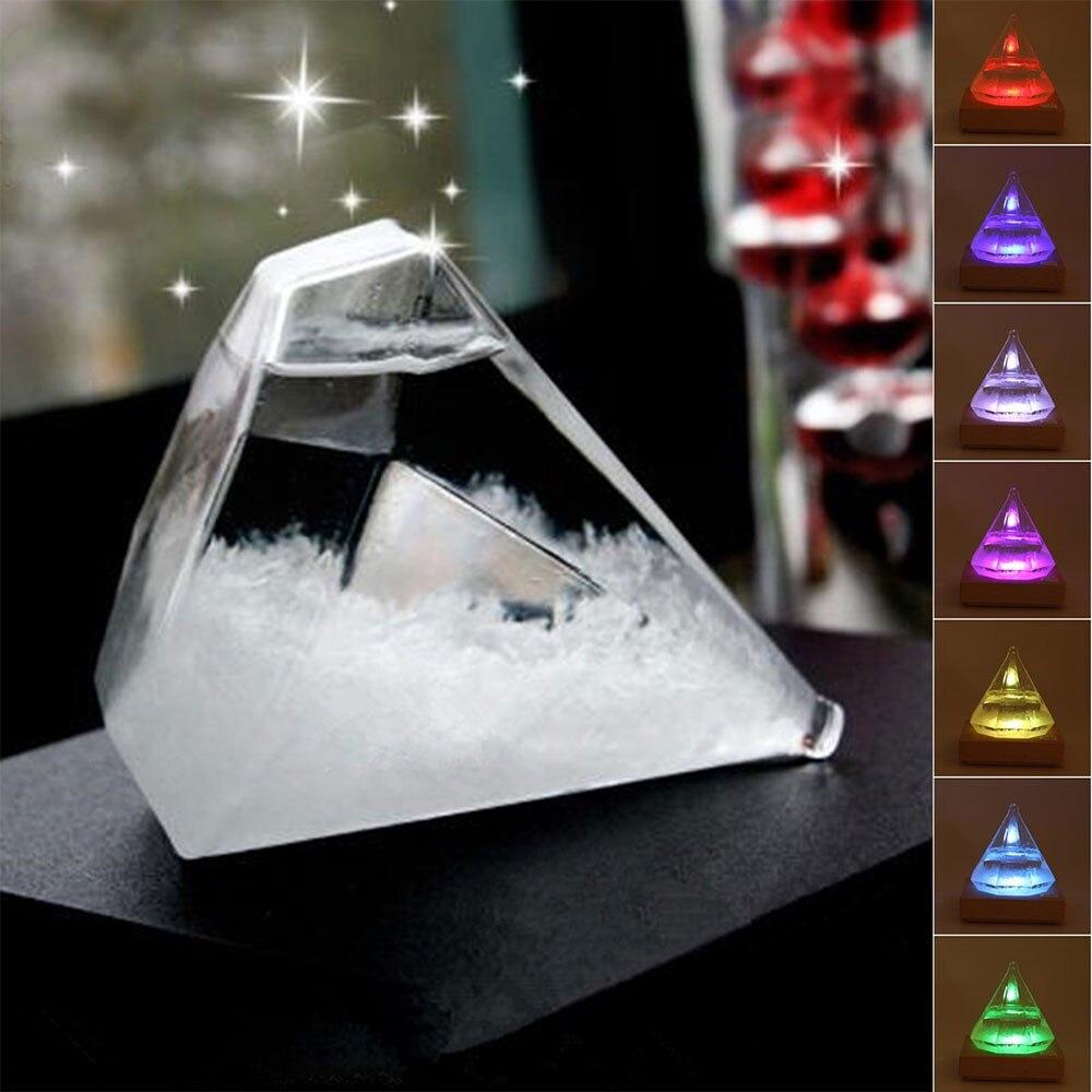 Прогноз погоды Хрустальная бутылка Алмазная форма штормовое стекло барометр Креативные украшения домашний декор стеклянные аксессуары По...