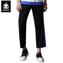 Genanx Brand Black Nine Minutes Of Pants Leisure Male Zipper Elastic Han Edition Tide Wide-Legged Pant Size M-XXL