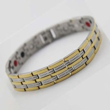 4in 1 Bacelets Mens Stainless Steel Titanium ion germanium Power energy Balance Hologram Health bracelet with magnet Therapy