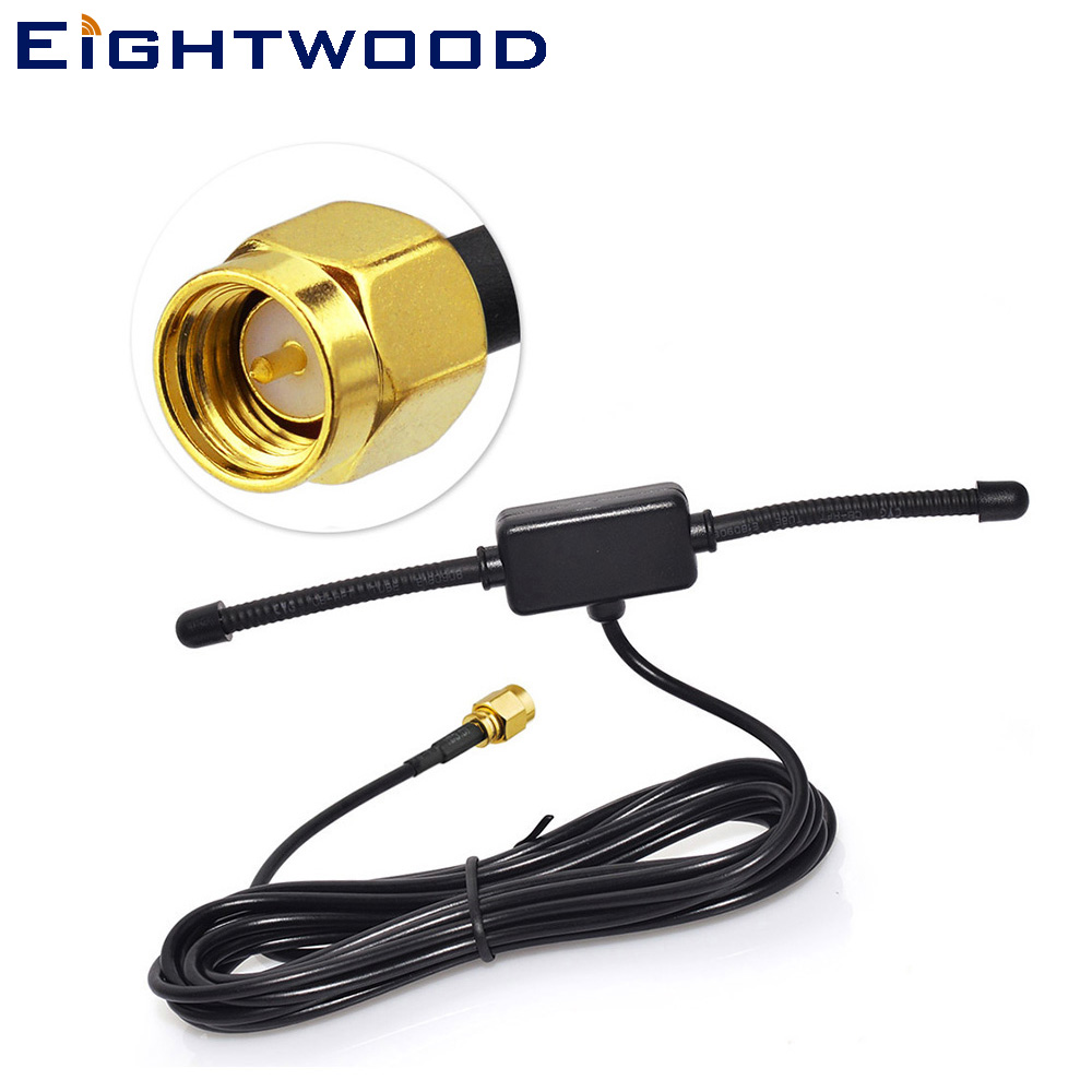 Eightwood Car Radio Antenna 433Mhz Universal CMMB Patch Aerial, Glass Mount CMMB 3M Cable SMA Male for BNW