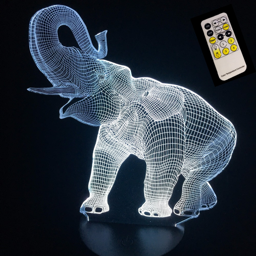 Elephant Shape Touch or Remote Night Lamp 3D Illusion LED Table Lamp Night Light with Animal 7 Color Change Effect New year Gift