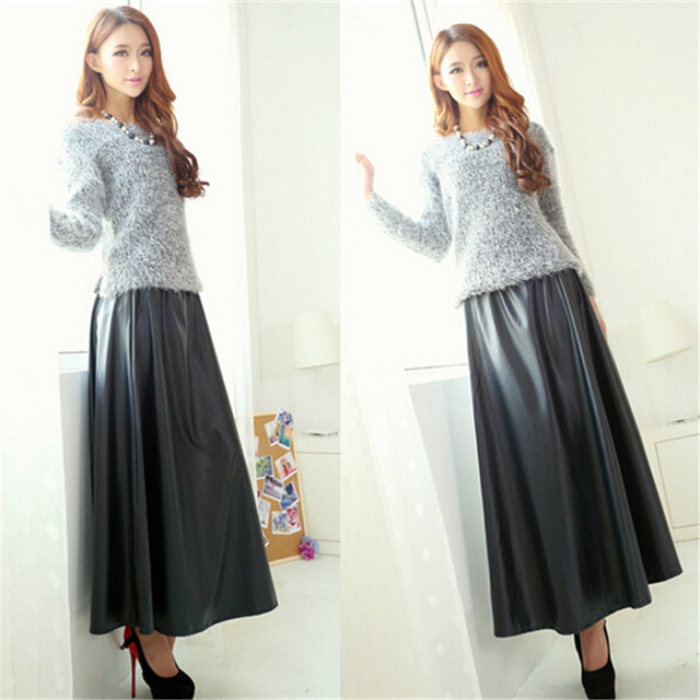 High waist PU skirts new fashion women's clothing faux leather black floor-length pleated long maxi skirt