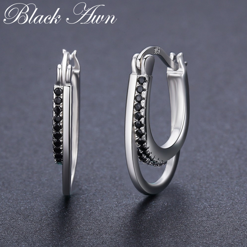 [BLACK AWN] 925 Sterling Silver Jewelry Hoop Earrings For Women Classic Black Spinel Boucles D'oreilles I004