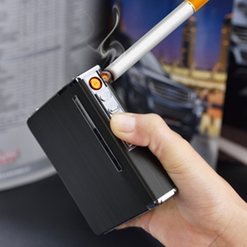 Portable 2 in 1 USB Electronic Charge Cigarette Case Box With Lighter Automatic Cigarette Holder USB