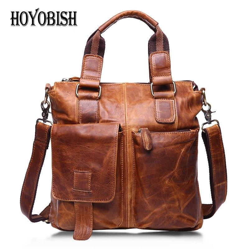 Здесь продается  HOYOBISH Vintage Crazy Horse Leather Men Bags Business Handbags New Trendy Genuine Leather Male Shoulder Bags Cross body OH204  Камера и Сумки