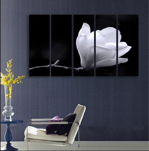 5 P 100% pintado a mano enorme pintura mural de aceite del arte en lona  flor blanca envío libre no enmarcado 7d89d4c753b9