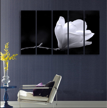5P 100% hand painted huge wall art oil painting on canvas  white flower  free shipment no framed