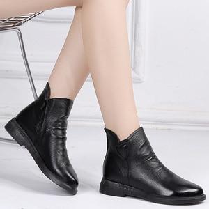 Image 4 - DRKANOL בריטי סגנון אמיתי פרה עור נשים קרסול מגפי סתיו אופנה קפלים צד רוכסן קצר מגפי נשים דירות נעליים