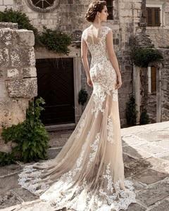 Image 4 - Champagne Lace Mermaid Wedding Dresses 2020 robe de mariee Detachable Train Sheer Illusion Wedding Gowns Handmade Gelinlik Bride