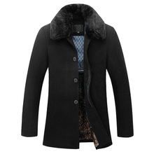 Съемный Меховой Шерстяное Пальто Мужчины 2017 Новый Дизайн Куртки Мужчины повседневная Slim Fit Зима Теплая Шинель Мужская Гороха Пальто Манто Homme