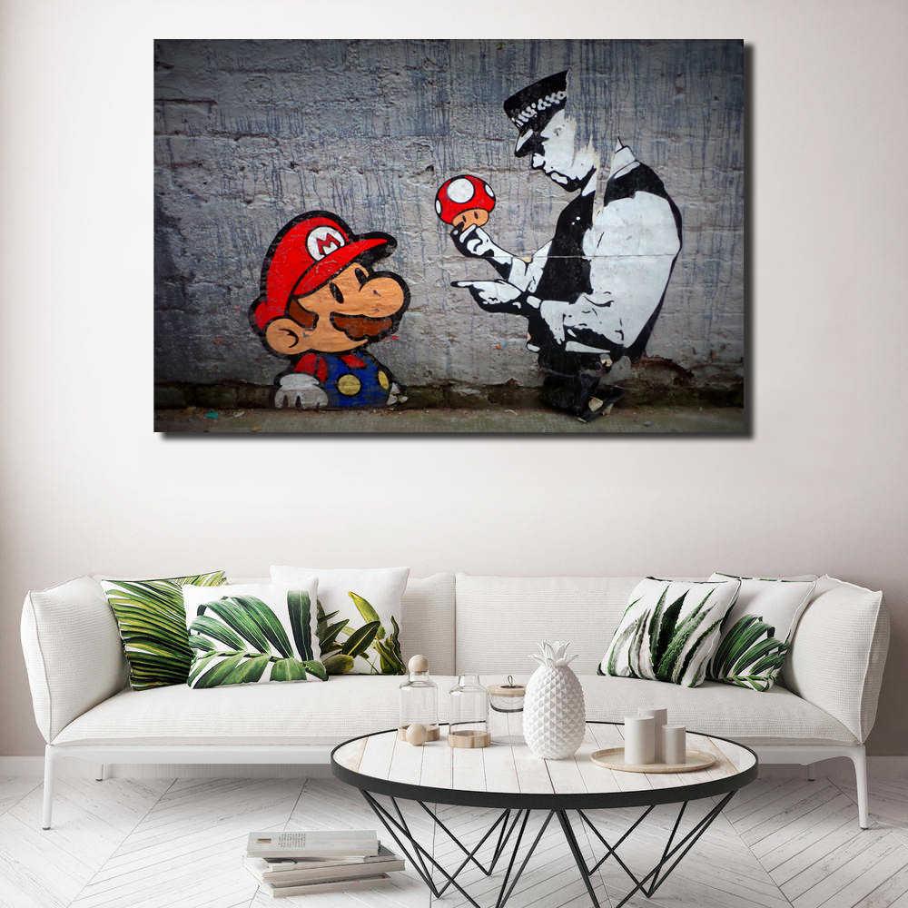 Super Mario Wallpaper HD Dinding Art Poster Cetak Lukisan Dinding Gambar Untuk Kantor Ruang Tamu Dekorasi Rumah Karya Seni